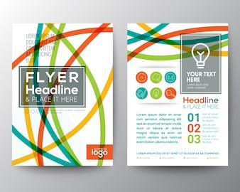 Forme abstraite colorée ligne courbe Poster Brochure Flyer conception modèle de mise en page
