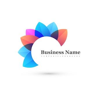 Forme florale abstraite et colorée avec logo