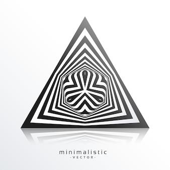 Forme triangulaire abstraite faite avec des lignes noires fond