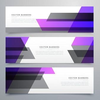 Formes géométriques violet et gris de bannières définies