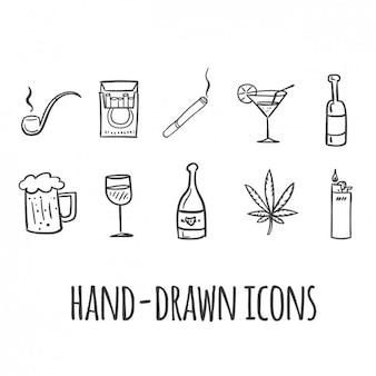 Fumer et boire icônes