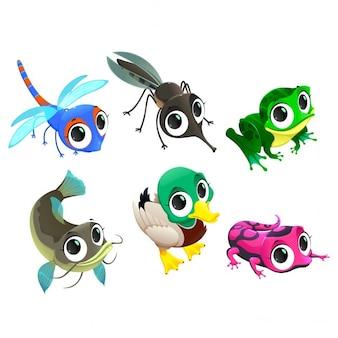 Funny animals de personnages vecteur de bande dessinée de l'étang isolé