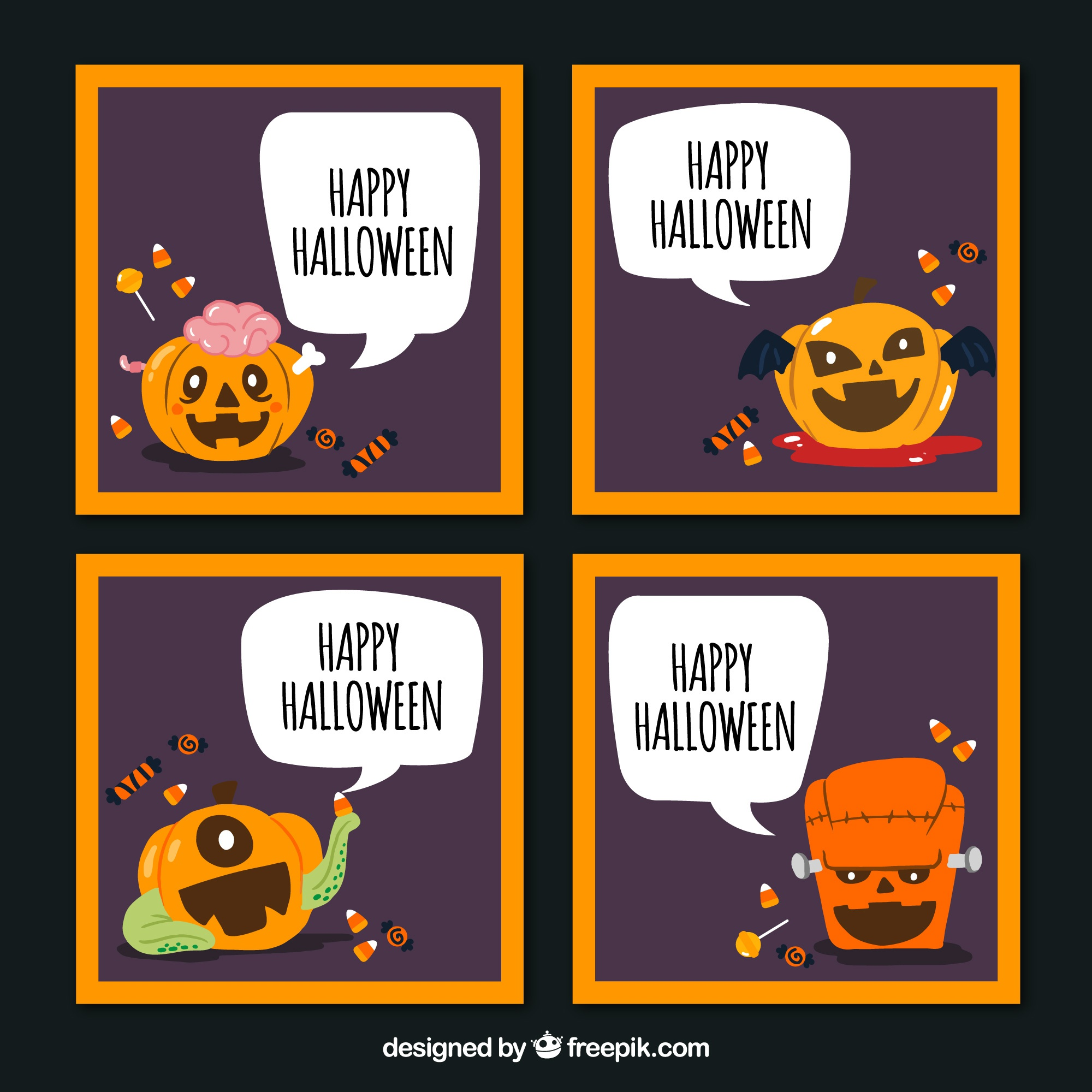 Funny halloween cards with pumpkin