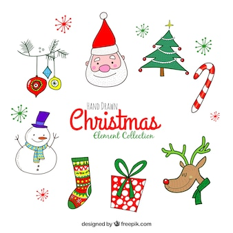 Funny pack of hand drawn christmas elements
