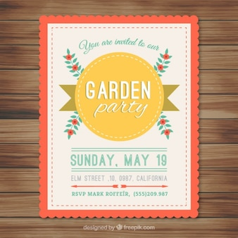 Garden party card avec badge et fleurs jaunes