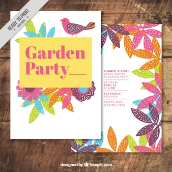 Garden party card avec dessinés à la main des feuilles colorées et oiseaux