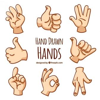 gestes de la main dessinés à la main
