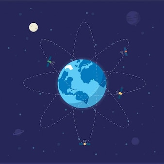 Globe terrestre avec des satellites autour de