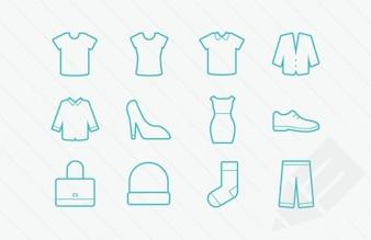 Glyphes icônes de vêtements vectoriels