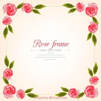 Grand cadre avec des roses et des feuilles en style aquarelle