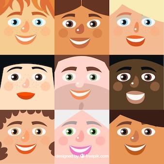 Grand fond avec une variété de visages souriants