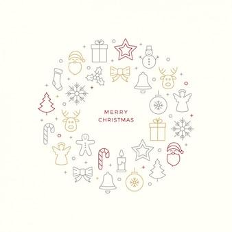Grand fond d'objets de Noël minimaliste