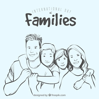 Grand fond de la famille tirée à la main en souriant