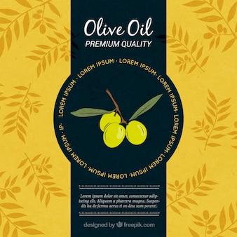 Grand fond jaune et bleu avec des branches d'olivier