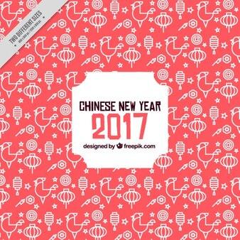 Grand nouveau fond chinois de l'année avec des lanternes et des coqs