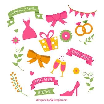 Grand paquet d'objets de décoration pour la douche nuptiale