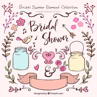 Grand paquet de décorations de douche nuptiale dessinés à la main