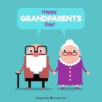 Grand-parents amusant avec un design plat