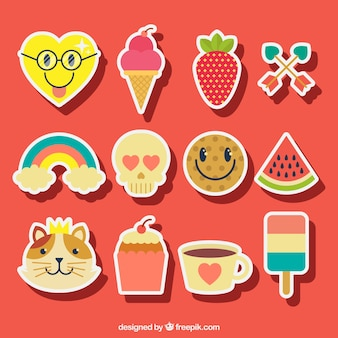 Grande collection de stickers en design plat