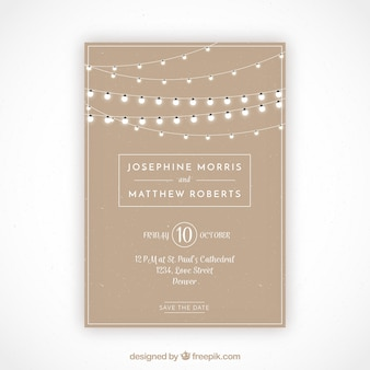 Grande invitation de mariage avec des ampoules décoratives