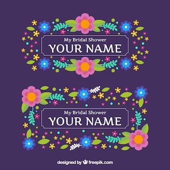 Grands cadres de mariage avec des fleurs colorées en design plat