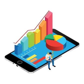 Graphique et graphiques isométriques sur écran d'iphone
