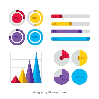 Graphiques colorés pour infographies