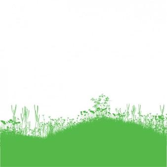 Green Grass et fleur fond