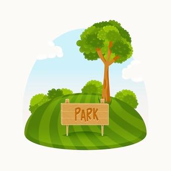 Green park avec un bel arbre