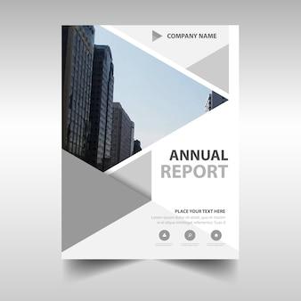 Gris modèle de couverture de livre de rapport annuel créatif