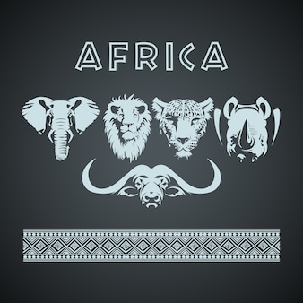 Gros cinq animaux et patron africains