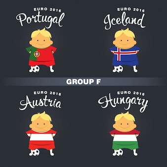 Groupe joueurs de football f