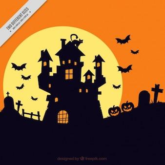 Halloween fond avec maison hantée silhouette