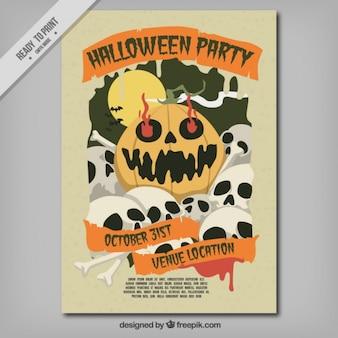 Halloween party flyer avec des crânes