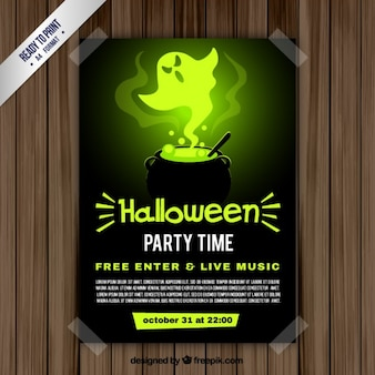 Halloween party flyer avec un chaudron
