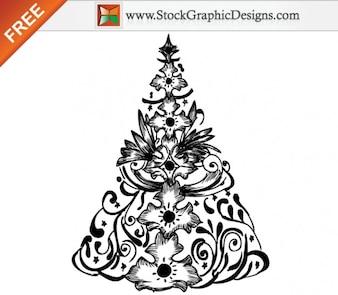 Hand Drawn arbre de Noël Illustration Vecteur libre