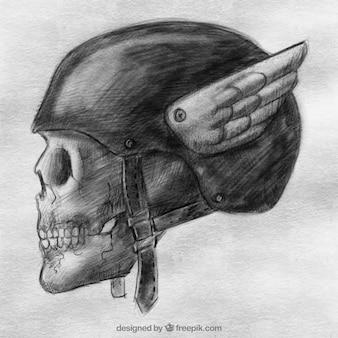 Hand drawn crâne et casque de fond avec des ailes