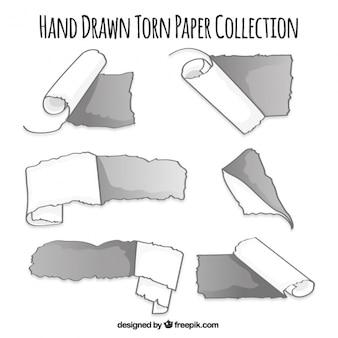 Hand drawn déchiré collection de papier