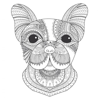 Hand drawn dog head background