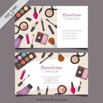 Hand drawn maquillage outils carte esthéticienne