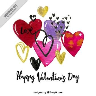 Happy day background valentine avec des coeurs d'aquarelle