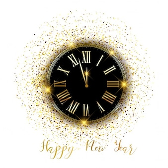 Happy New Year horloge fond avec des confettis d'or