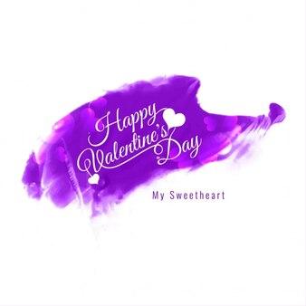 Happy valentines violet jour carte de couleur