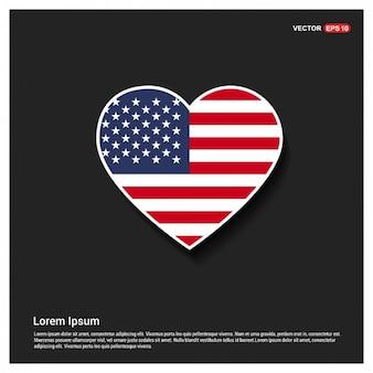 Heart Shaped drapeau américain