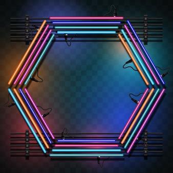 Hexagon avec des lumières multicolores