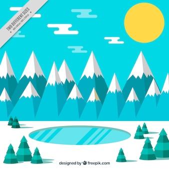 Hiver fond de paysage avec des montagnes