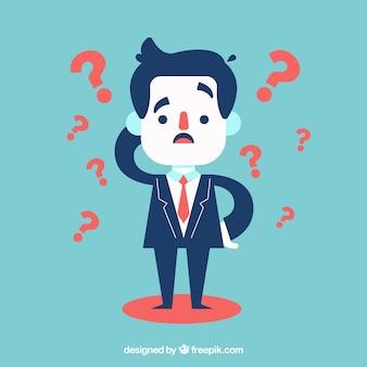 Homme d'affaires avec beaucoup de doutes