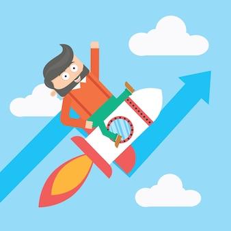 Homme d'affaires, caractère, fusée, croissance, dessin animé, vecteur, conception
