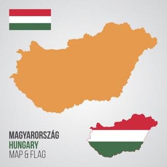 Hongrie carte et drapeau