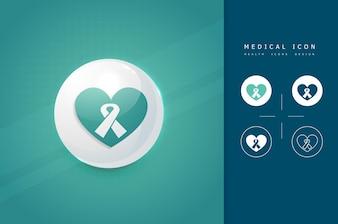 Icône de coeur avec symbole de ruban d'aide